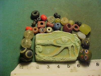 "25 + ancient beads circa 1000 BC-1700 AD + Egyptian ""Eye of Horus"" amulet"