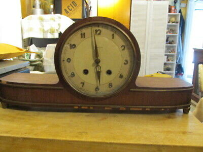 Early 1900's Deco JUNGHANS  Chime Shelf Mantel Clock With Key