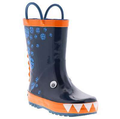 Kids Northside Boys 3D Dino Mid-Calf Pull On Rain Boots, Blue/Orange, Size 6.0 j