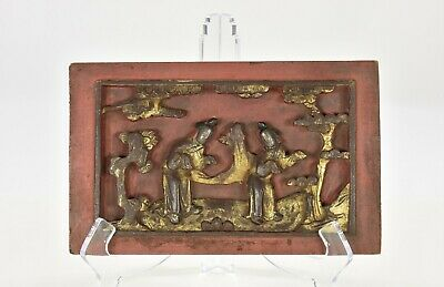 Antique Chinese Red Gilt Wood Carving / Carved Panel, Qing Dynasty, 19th c