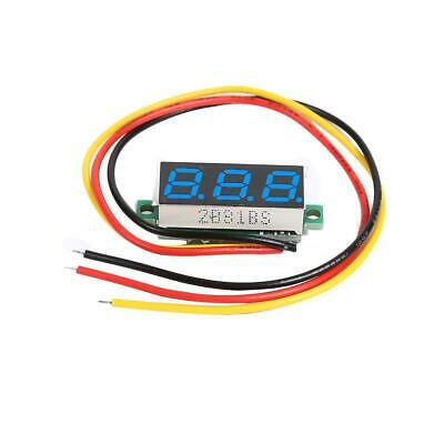 DC 0-100V 3 Wires Mini Gauge Voltage Meter Voltmeter LED Display (Blue)