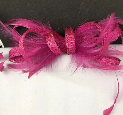 Fushia Pink Clip Facinator With Feathers Special Occasion Wedding Christening