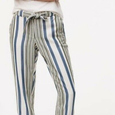 LOFT Striped Tie at Waist Cropped Pants Womens Size 4 Green Blue