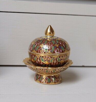 Benjarong Thai Ceramic Gold Gilt Hand Painted Mini Thinket Pot With Stand