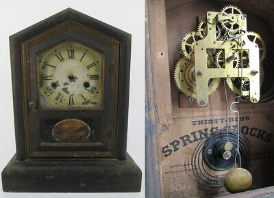 ANTIQUE MANTEL CLOCK cathedral wood SETH THOMAS vintage 30 HOUR reverse painted