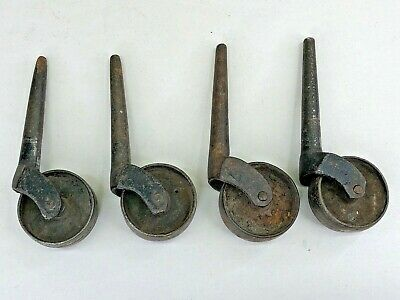 4 Antique Furniture Castors Wheels Cast Iron Match Set