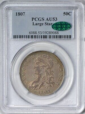 1807 Capped Bust Half Dollar Large Stars PCGS AU53 - CAC Approved - Very Scarce