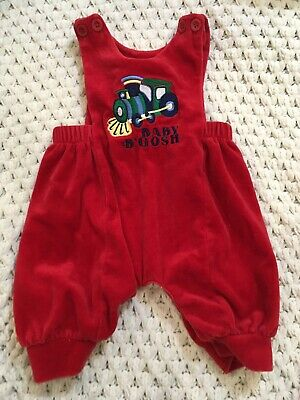 Baby B'Gosh Vintage Train Red Bubble Overalls Romper 3/6 Months