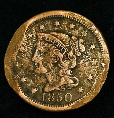 1850 US Large Cent Matron Braided Hair 1C Ungraded Damaged US Copper Coin CC1167