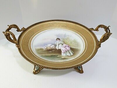Antique Sevres Women with Cherub Porcelain Charger with Gilded-Metal Ormolu