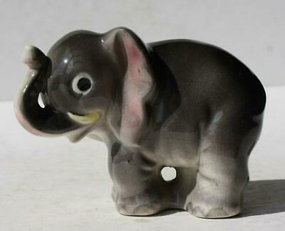 Elephant Figurine Gray-Pink Ears Ceramic-Porcelain Hand Painted Made in Japan