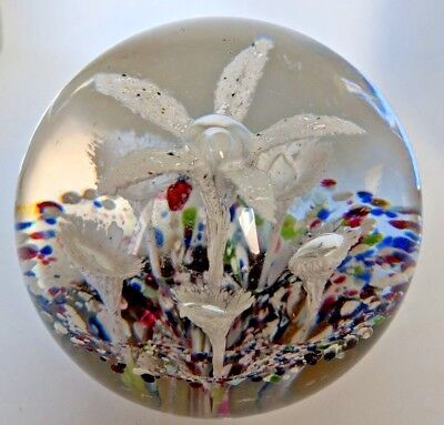 "Lovely!  ANTIQUE 1883 BOHEMIAN-STYLE GLASS PAPERWEIGHT:  Large 3.25"" diameter"