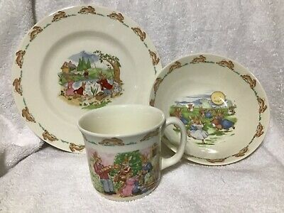 "1936 Royal Doulton English Fine Bone China ""Bunnykins"" Child Dishes Plate Cup Bo"
