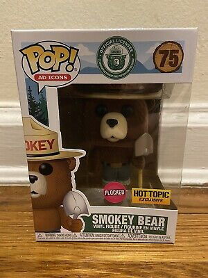 Funko Pop! Ad Icons Smokey The Bear Flocked #75 Hot Topic Exclusive Rare In Hand