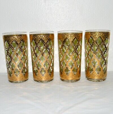 Culver Glass Set Valencia 22K Gold Green Diamond Tall Glassware Drink MCM Vtg