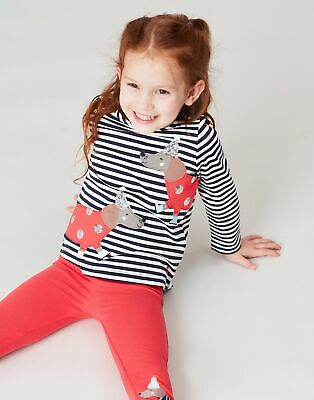 Joules Ava Applique Top  - NAVY STRIPE DOG