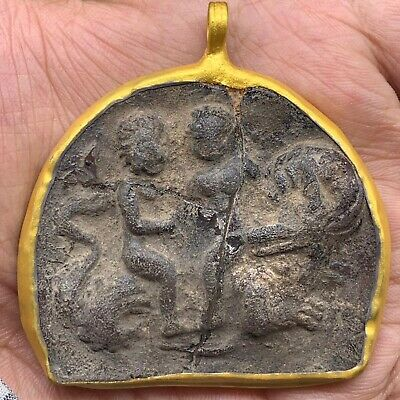 Rare Ancient Roman glass King and Queen Face 300 BC Gold Cap Pendant