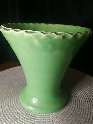 Vintage Old Large Green Vase 960gm 17cm Tall