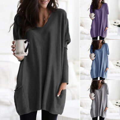 Womens Loose Tunic Jumper Casual Winter Pullover Tops Baggy Solid Shirts Sweater