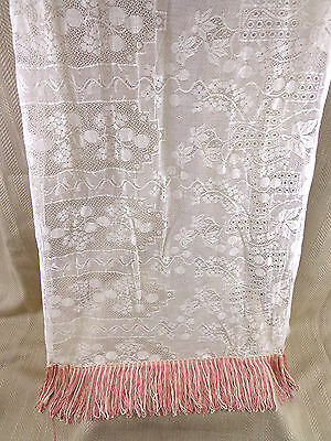 Antique Lace Shawl Stole Fringed Tassel Piano Cover Cloth Victorian