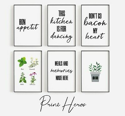 Kitchen Prints Black and White Funny Herbs Spices Love Wall Art Picture *3 for 2