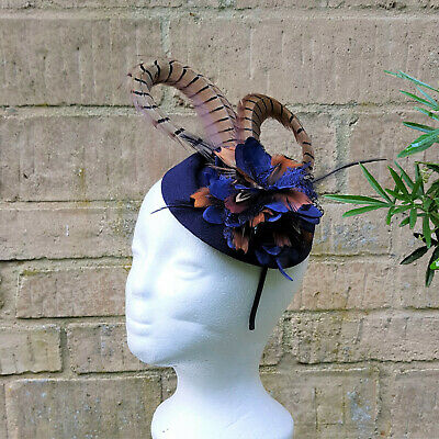 Pheasant feather navy pillbox flower fascinator clip hair band accessory