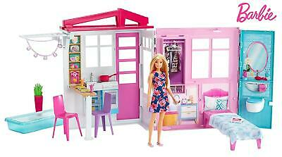 Barbie Doll and Dollhouse Portable 1-Story Playset FXG55