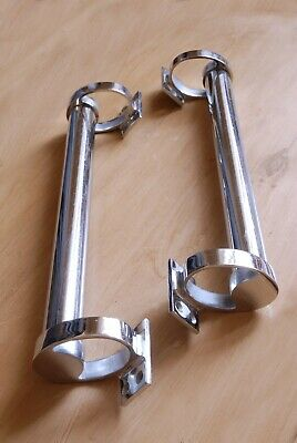 "Vintage Door Handles Art Deco Antique Pair Chrome Door Pulls  14 1/2"" Long"