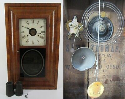 SETH THOMAS OGEE CLOCK antique mantel mantle walnut weights key scene RARE ALARM