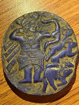 Lovely Near Eastern Ancient King Hunting Lapis lazuli Unique Stone Relief