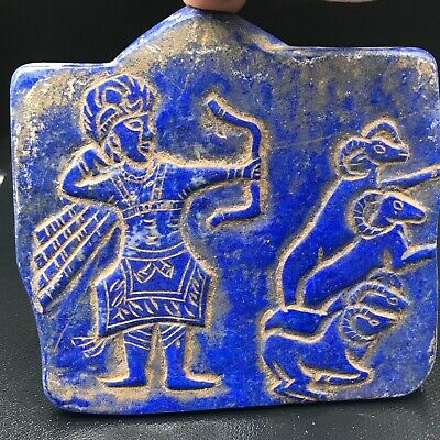 Wonderful Near Eastern Ancient King Hunting Lapis lazuli Unique Stone Relief