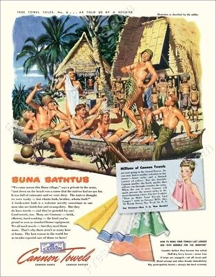 1943 nude men US Army soldier jungle bath art Cannon Towels ad new poster 18x24