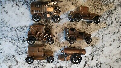 Vintage Brass 6x LOT 1906 ~ 1926 Car Coin Bank Banthrico Inc Chicago IL