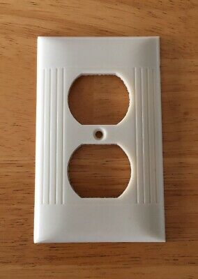 Sierra Electric Outlet Plate Wall Cover D-8 Ivory Ribbed Art Deco Vintage
