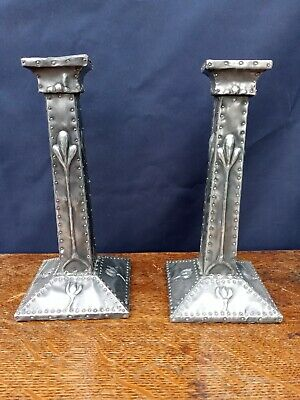 Pair of unusual arts & craft pewter candle  sticks