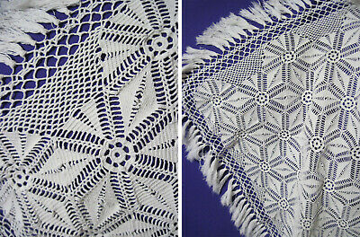 Antique Russian Openwork Lacy Tablecloth, 180x120cm, Cotton, Crochet  USSR, 50s