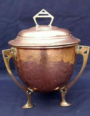 Antique arts & crafts copper and brass coal/log bin