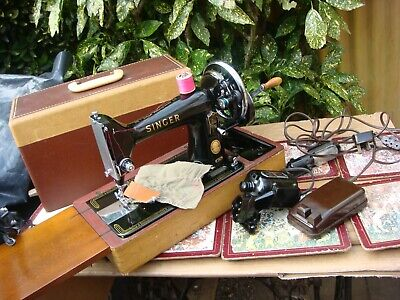 Antique Old Vintage Hand Crank & Electric  Singer sewing machine Model  99K