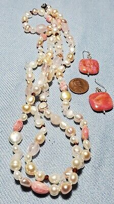 Honora Pearl With Pink Rhodochrosite Necklace And Earrings Set.