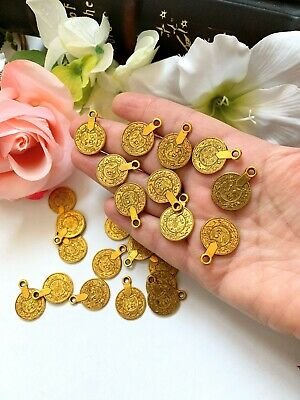 18 MM Metal Coin Charms, Jewelry Supplies, Indian Coins, Antique Gold Metal