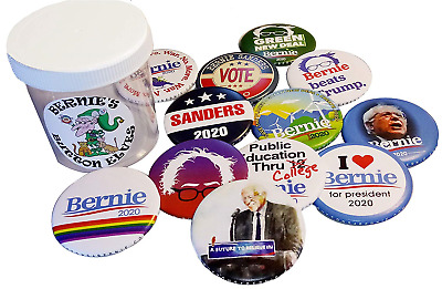 Bernie Sanders 2020 Jar of 12 Assorted Full-Sized 2.25-Inch Campaign Buttons