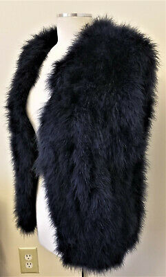 Lena Fiore 100% Natural Feather Vest Size M Dark Navy Made in Italy