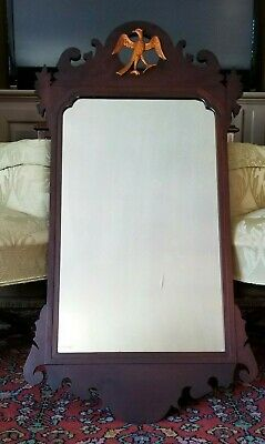 "LARGE MAHOGANY ""CHIPPENDALE ROOK"" MIRROR BIGGS FURNITURE (KITTINGER) 40"" x 21"""
