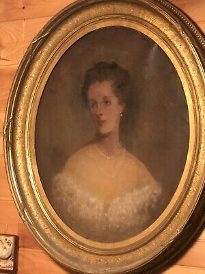 Antique Beautiful Large Victorian Oil Painting Beautiful Lady