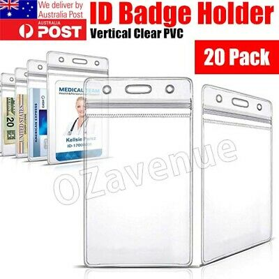 20x Clear Plastic ID CARD HOLDER POUCH PVC lanyard work BADGE Zip Lock
