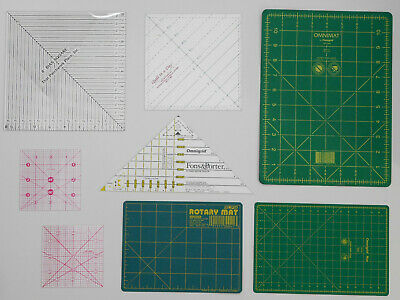 Omnigrid, Bias Ruler Lot ( 8 Grids ) Sewing Quilter Rotary Cutting Mats Square