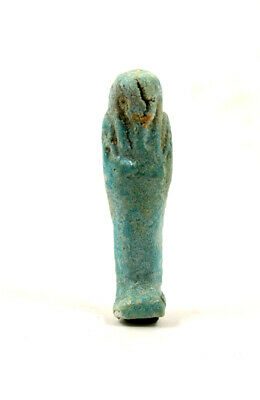 Egypt Ptolemaic Period  blue-green faience shabti