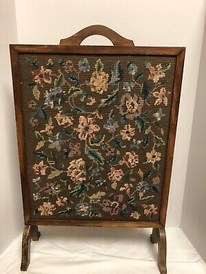 Antique Needlepoint Fire Screen Flowers