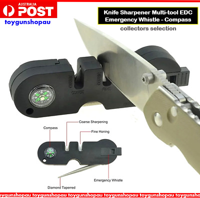 Tactical Knife Sharpener Outdoor EDC Multi Tool Survival Whistle Compass Knife