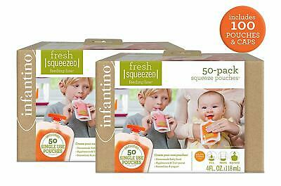 Infantino Fresh Squeeze 100 Pouches Baby Disposable Feeding Bags for Station